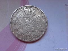 1870 Belga ezüst 5 frank 25 gramm 0,900 szép darab