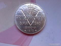 1970 Norvég ezüst 25 korona 29 gramm 0,875