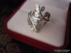 Kék gyöngyház ágas 925 ezüst gyűrű