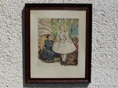 Prihoda István (1891-1956) Öltöztetés - színes rézkarc!