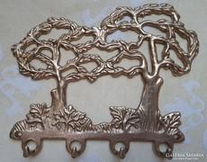 Réz  fákat ábrázolo fali kulcs akasztó
