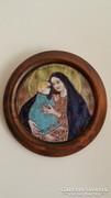 Gyönyörű tűzzománc kép , Madonna, Prácserné H. Éva alkotása