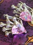 Ezüst csodálatos fülbevaló rózsaszín köves