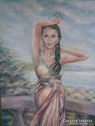 Borka Sándor: Balaton királynője, Fűzfői öböl, tájkép, festmény