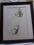 Régi keret szép Ferenczi Béni képpel 40 x 34 cm