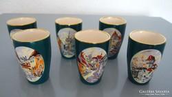 Régi, 6 db-os vastag porcelán pohár készlet FS jelzéssel