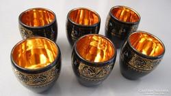 Aranyozott, kézi festésű, 6 db-os porcelán pohár készlet
