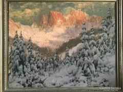 Neogrády László tájkép eredeti antik keretben
