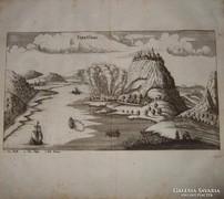 Visegrádi csata, eredeti rézmetszet Jacob Koppmayer 1690
