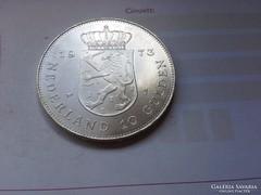 1973 Holland ezüst 10 gulden 25 gramm 0,720,verdefényes gyön