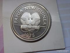 1975 Pápua új-Guinea ezüst 5 Kina 27,6 gramm 0,500 PP Ritkáb