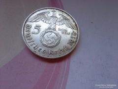 """1938 """"J""""III.birodalom ezüst 5 márka horogkeresztes"""