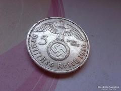 """1936 """"D""""III.birodalom ezüst 5 márka horogkeresztes"""