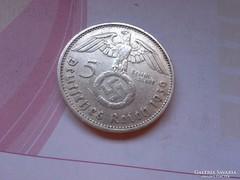 """1936 """"A""""III.birodalom ezüst 5 márka horogkeresztes"""