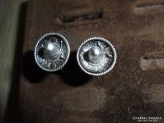 Mexikói ezüst sombrerós feliratos mandzsetta gomb
