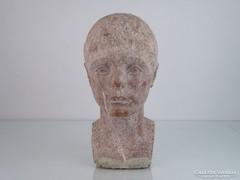 0M338 Régi vörösmárvány kislány fej szobor 33 cm