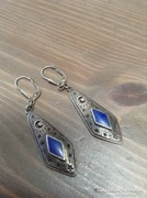 Régi kézműves ezüst fülbevaló lápisz lazulival