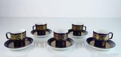 0M363 Kobaltkék Hollóházi porcelán kávéskészlet