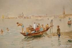 Carlo MENEGAZZI (1856-1920): Velencei fürdőzés
