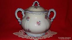 Antik tolszármintás kék kontúros Zsolnay porcelán cukortartó