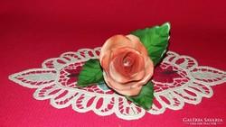 Gyönyörű régi Herendi narancs színű porcelán rózsa 6X6X6 cm