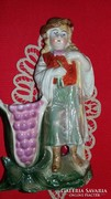 Régi Kronach Bavaria Kuoni pásztorfiú porcelán váza figura