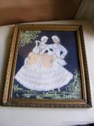 Régi képkeret  Barokk pár pasztell kép