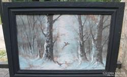 Neogrády László: Fácánok téli erdőben