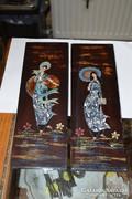 2 darab gyöngyház berakásos fali kép