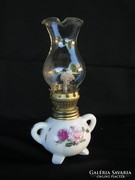 Porcelán kis rózsás petróleumlámpa