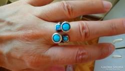 Jelzett 925 ezüst gyűrű 4 opállal