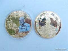 2 darab Ferenc József nagy aranyozott érme plakett