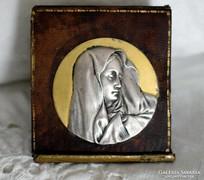 Antik aranyozott ezüst Mária úti érem kegytárgy plakett
