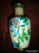 Rekesz (Cloissoné) zománc váza 16 cm