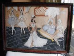 Háremhölgyek a szultán udvarában régi pasztell és képkeret
