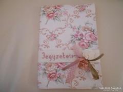 Textilből készített  füzetborító + füzet+ sima szív 15x22 cm