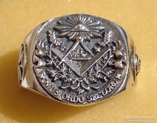 Szabadkőműves ezüst gyűrű      925 Ag 13,3gramm