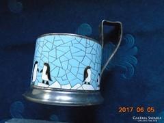 Szovjet-orosz ezüstözött-tüzzománc-pingvin mintás-pohártartó