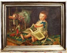 Antik festmény kb. 100 éves Babák játékok olajfestmény