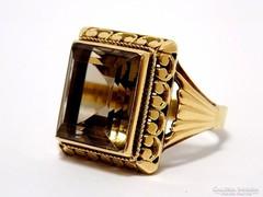 Arany pecsétgyűrű füstkvarccal (ZAL-Au65379)