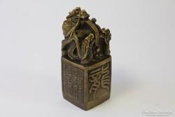 Régi kínai sárkányos bronz pecsét