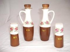 Rózsás asztali olaj  ecet fűszertartó készlet