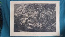 Johann Elias Ridinger gigantikus 82 x 58 cm-es metszet 1736