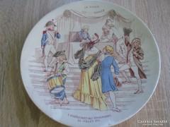 Jelenetes Sarreguamines porcelán fali tányér