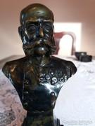 Extra szép kidolgozásu Ferenc Jozsef bronz mellszobor elado