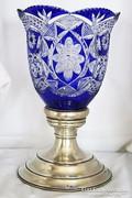 Antik Óriási,Kék Ólom Kristállyal Ezüst Talpú Váza 1314 gr.