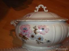 Csodaszép régi zsolnay leveses tál ritka rózsa