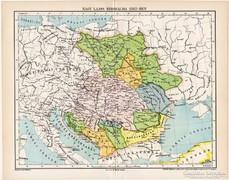 Magyarország térkép 1382, kiadva 1897, eredeti, régi