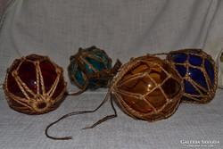 4 darabos színes üveg gömb  ( DBZ 0092 )