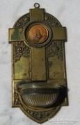Antik fém szenteltvíztartó , eredeti üvegbetéttel